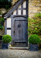 Oak door w beams